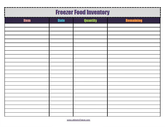 Food Inventory Template Excel